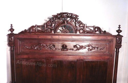 ~ French Carved Oak Marriage Double Bed ~ antiques-atlas.com
