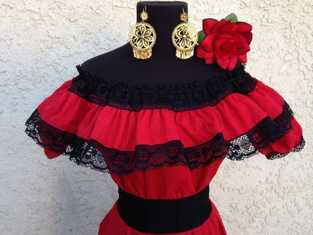 Blusa mexicana Adelita roja con hombros descubiertos y con fajín negro pequeño.  Blusa Adelita  – Boda