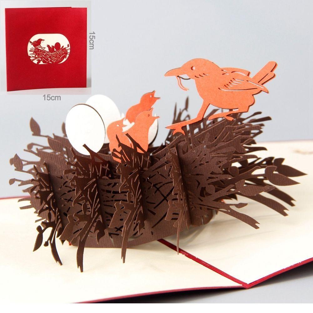 3D Pop Up Greeting Card Bird Birthday Thank You