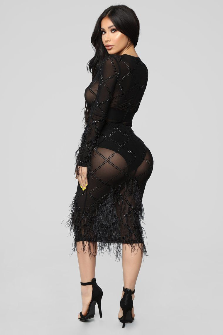 Living Large Feather Dress Black Black feather dress