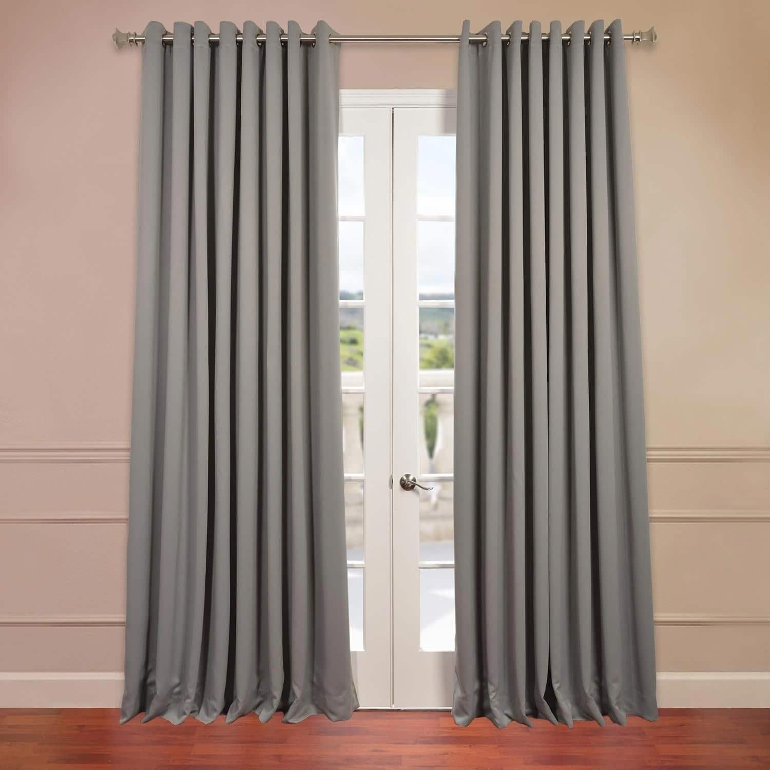 Exclusive Fabrics Extra Wide Thermal Blackout Grommet 96 Inch Curtain Panel 100 X 96 Neutral Grey Home Half Price Drapes Panel Curtains 108 Inch Curtains