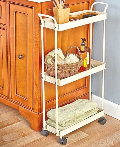 Ivory Cream Rolling Cart Multi Purpose Kitchen Laundry Bathroom Space Saving  Organizer Slim Shelves Organization KNL