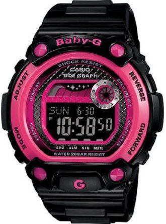 556a002a013a Black Baby-G Tide Graph Moon Phase Digital Pink Accents Strap By Casio For  Woman By Casio