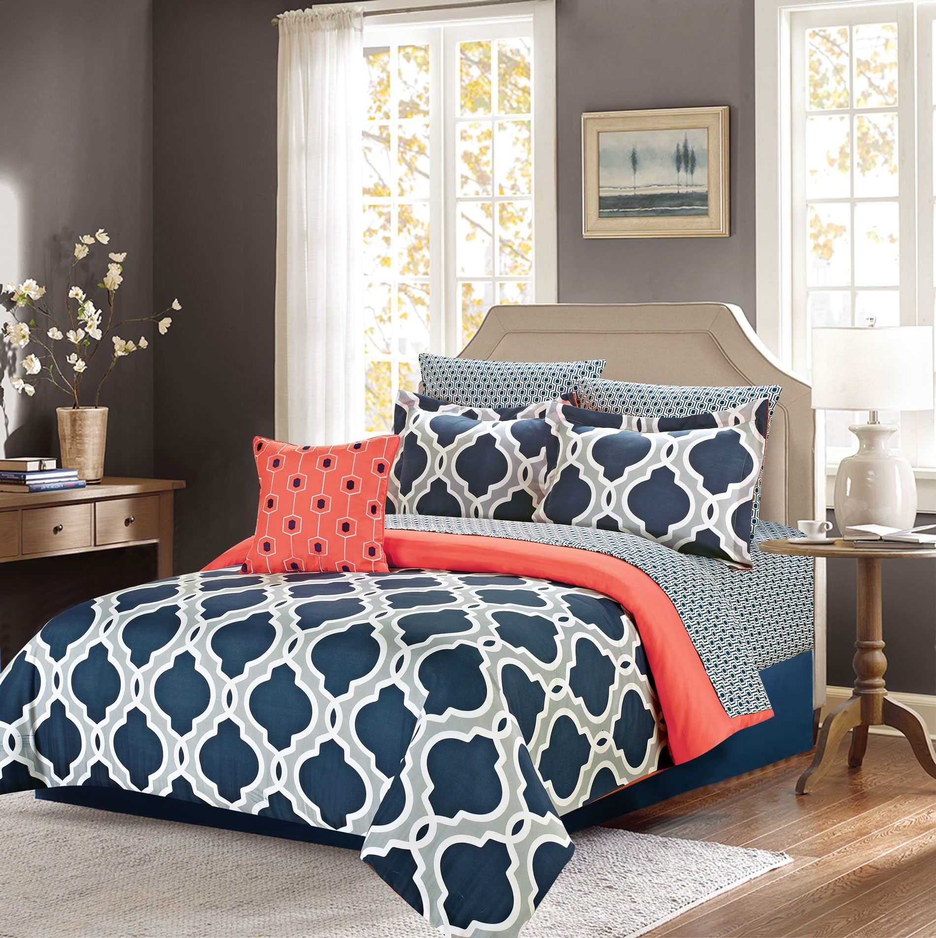 Crest Home Ellen Westbury 7 Piece King Comforter Bedding Set Navy Blue And Grey Quatrefoil