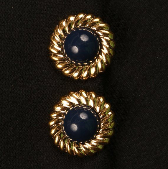 b38b58b582fafe 1960's Vintage MONET Navy Cabochons and Gold Tone Nautical Border Button  Clip On earrings, Great VTG Condition, 7/8