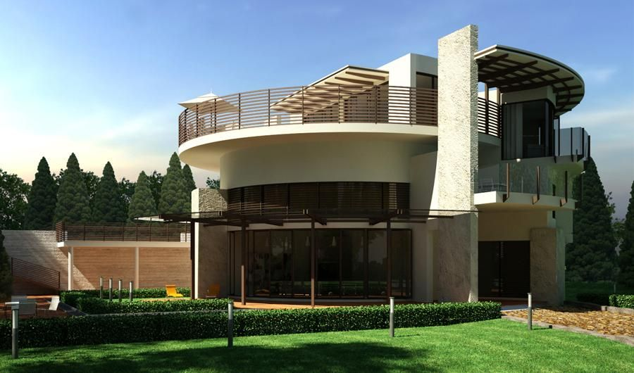 Astounding elegant modern house design green garden round for House design images