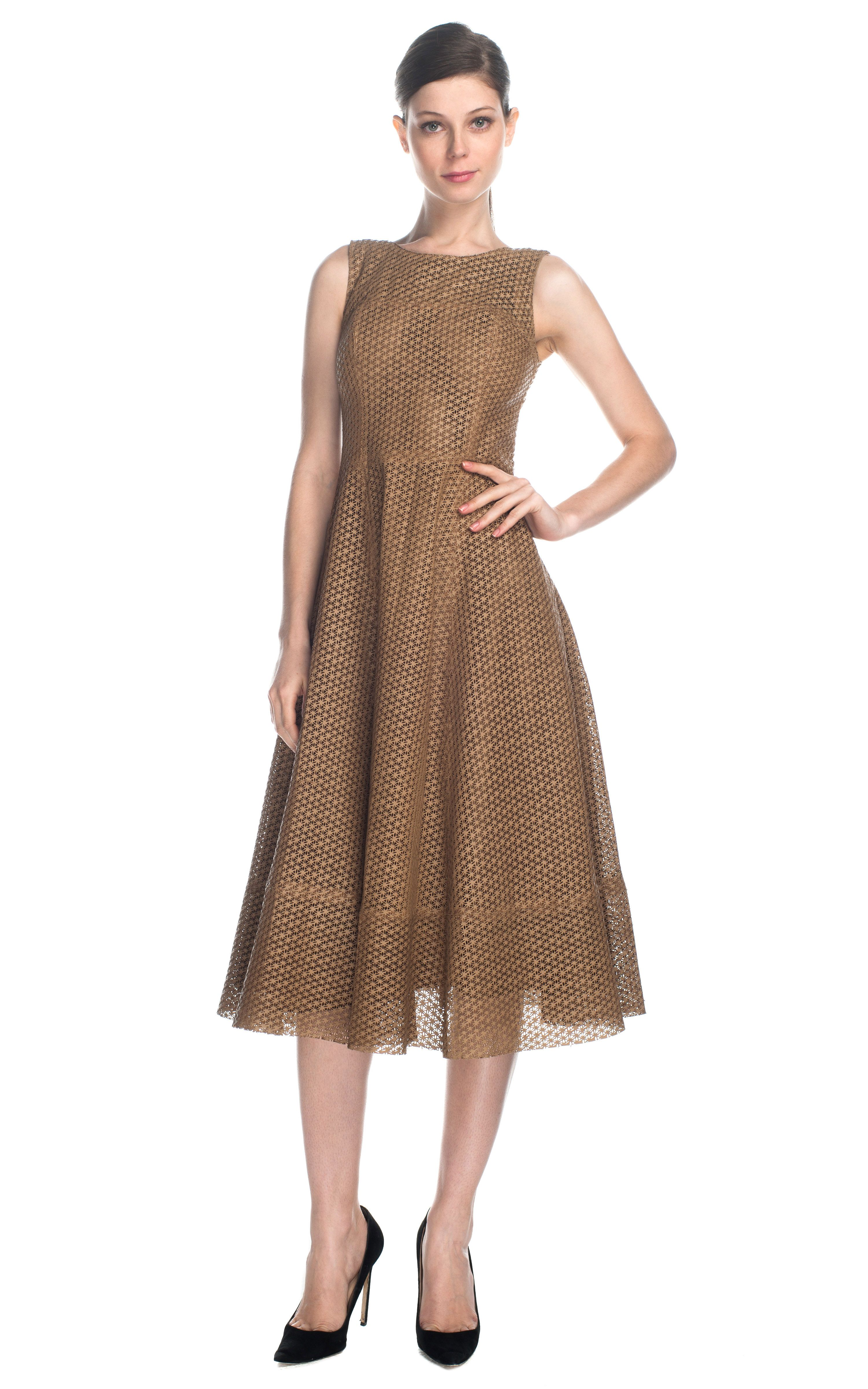 Patrícia viera laser cut hive leather dress brown variations