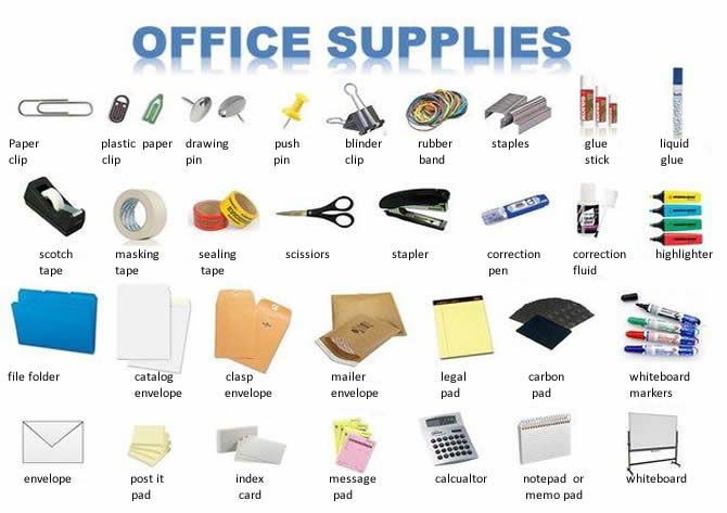Office supplies english lesson learning vocabulary for Material de oficina en ingles