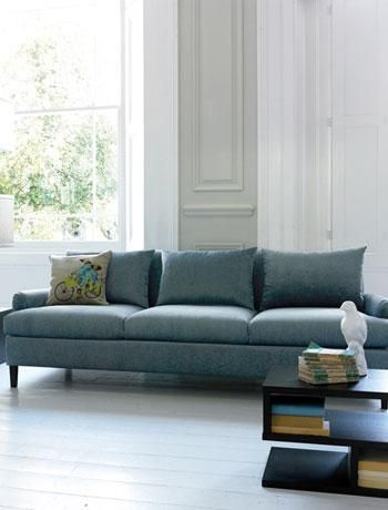 Dusty Teal Sofa With Grey Walls