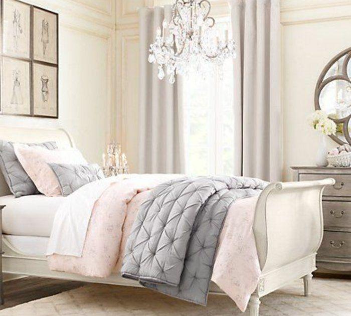 deco-chambre-fille-élégante-en-rose-et-gris-lit-blanc-avec-linge