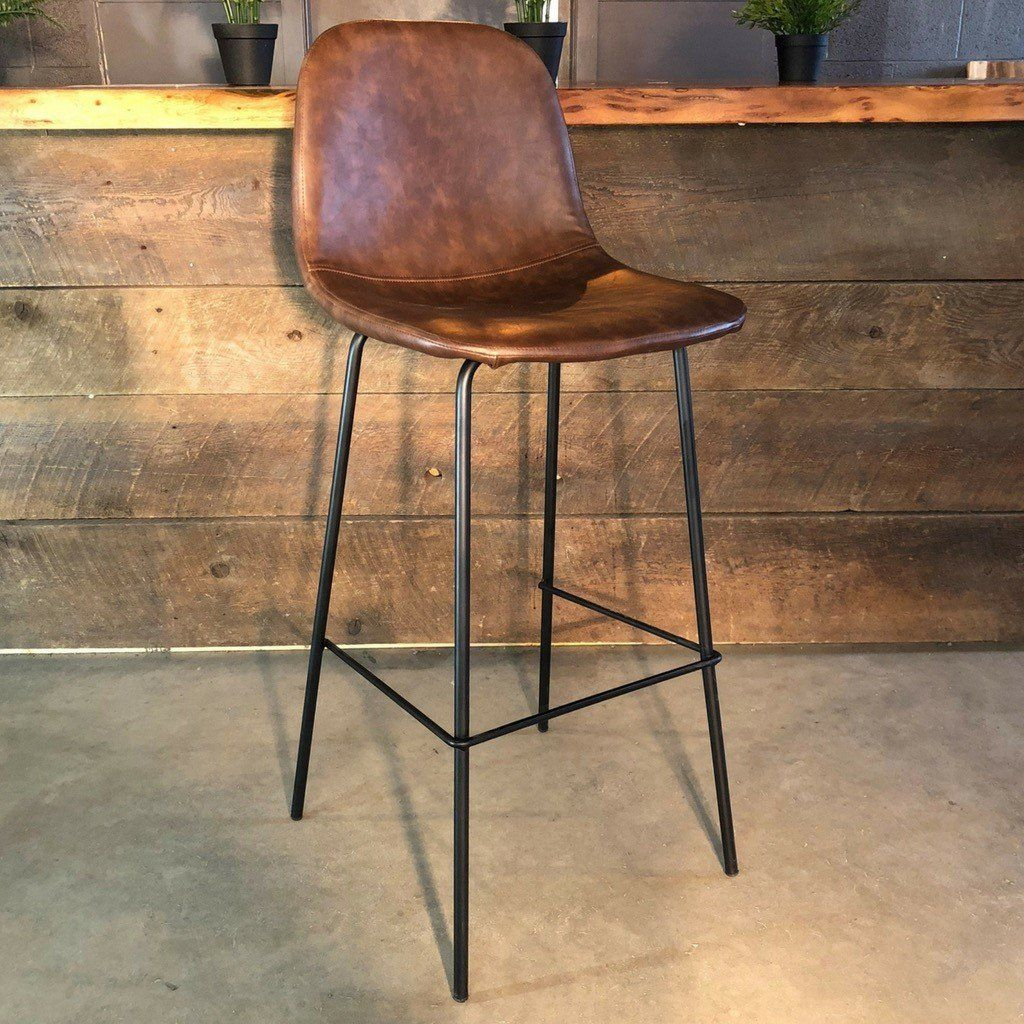 Milan Eames Style Brown Vintage Leather Bar Stool With Black Metal