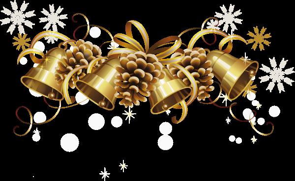 Transparent Christmas Golden Bells Png Picture Christmas Bells Christmas Clipart Christmas Border
