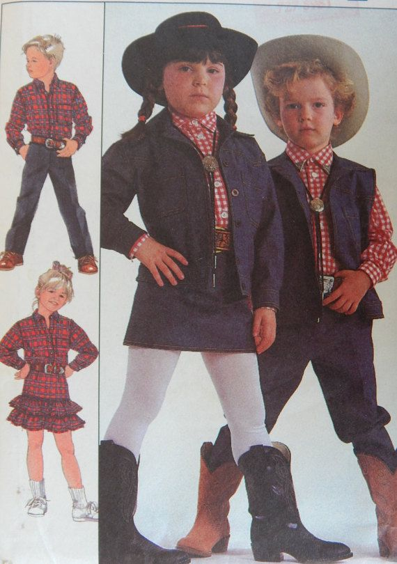 Kids Western Style Sewing Pattern Denim Pants Skirt Shirt