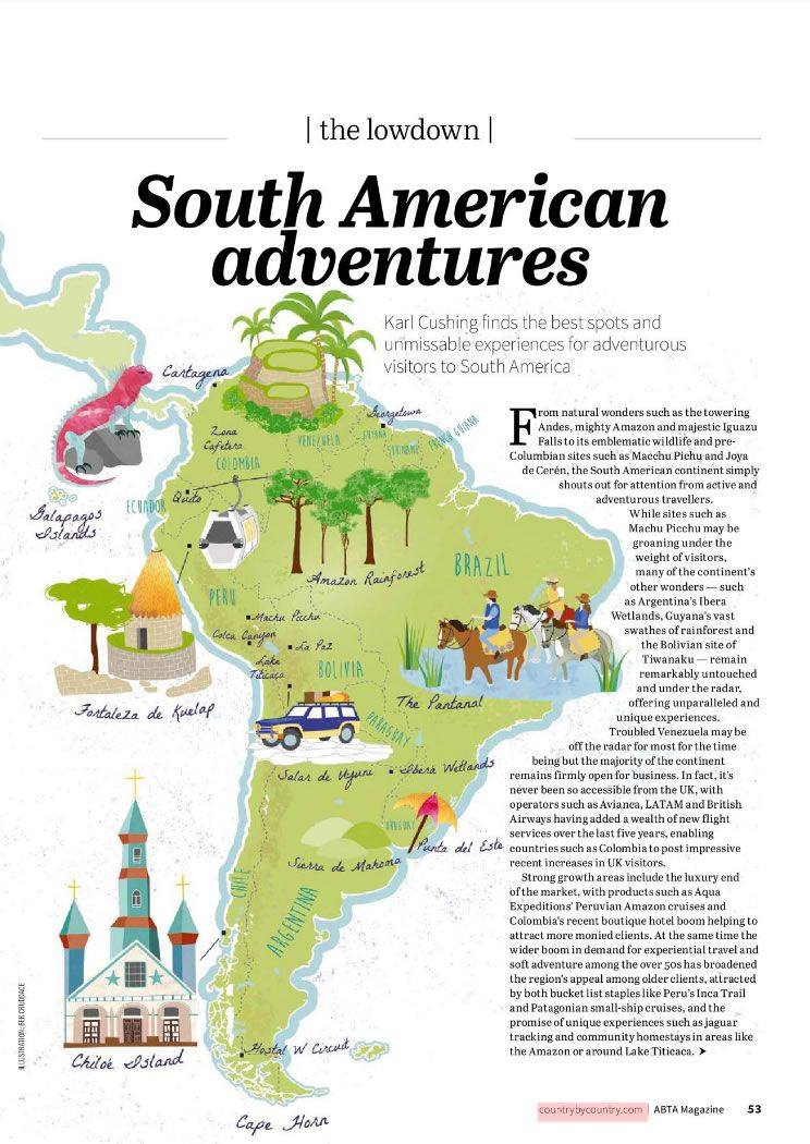 Illustrated Map Of South America For Abta Magazine Showing Chiloe