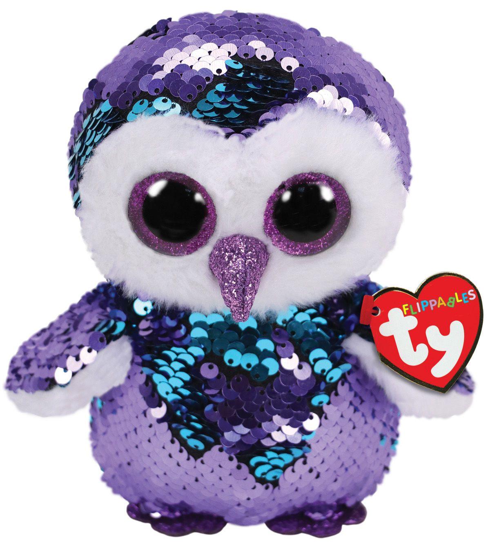 "6/"" TY Beanie Boo Moonlight With Tag Purple Owl Plush Stuffed Toys Glitter Eyes"