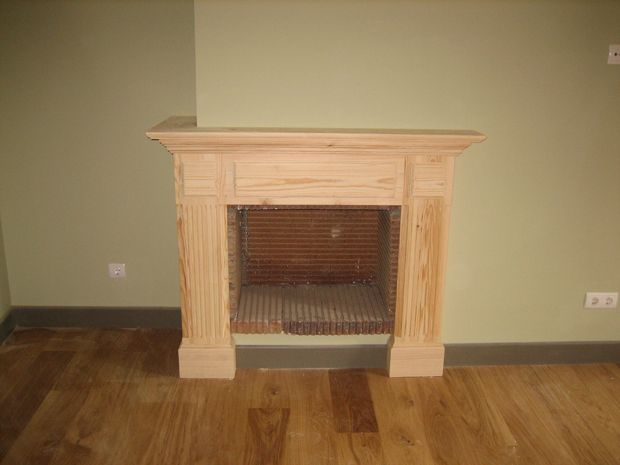 Frente de chimenea de madera diy buscar con google - La chimenea muebles ...