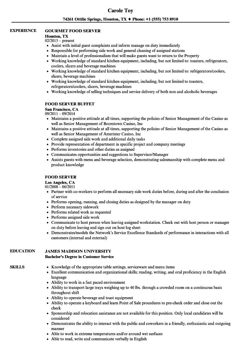 Resume for Restaurant Servers Excellent Food Server Resume