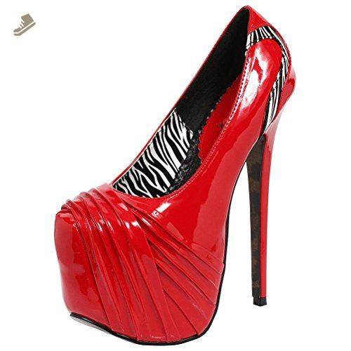 1b6bdeaa846f Shiny 6 Inch Red High Heels with Black and White Zebra Print Detail Size  9  - Summitfashions pumps for women ( Amazon Partner-Link)