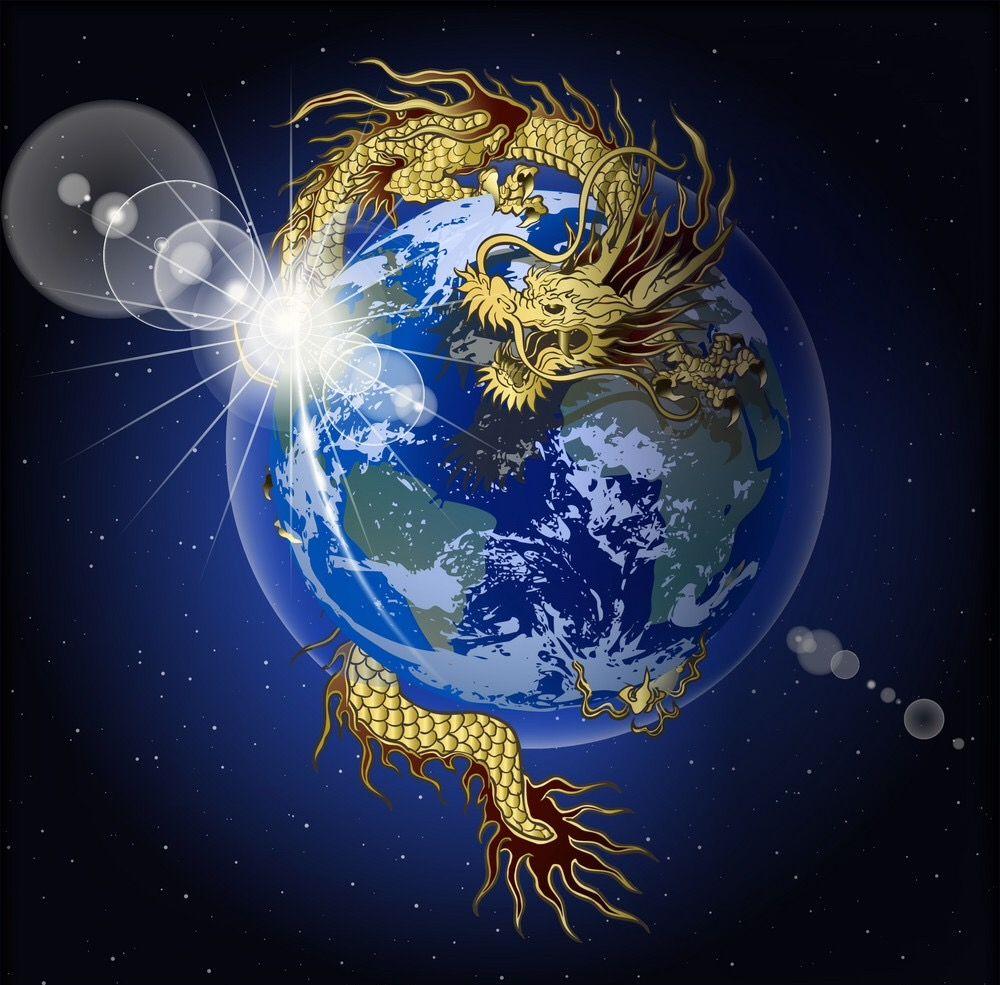 Dragon around the world. Chinese dragon, Illustration