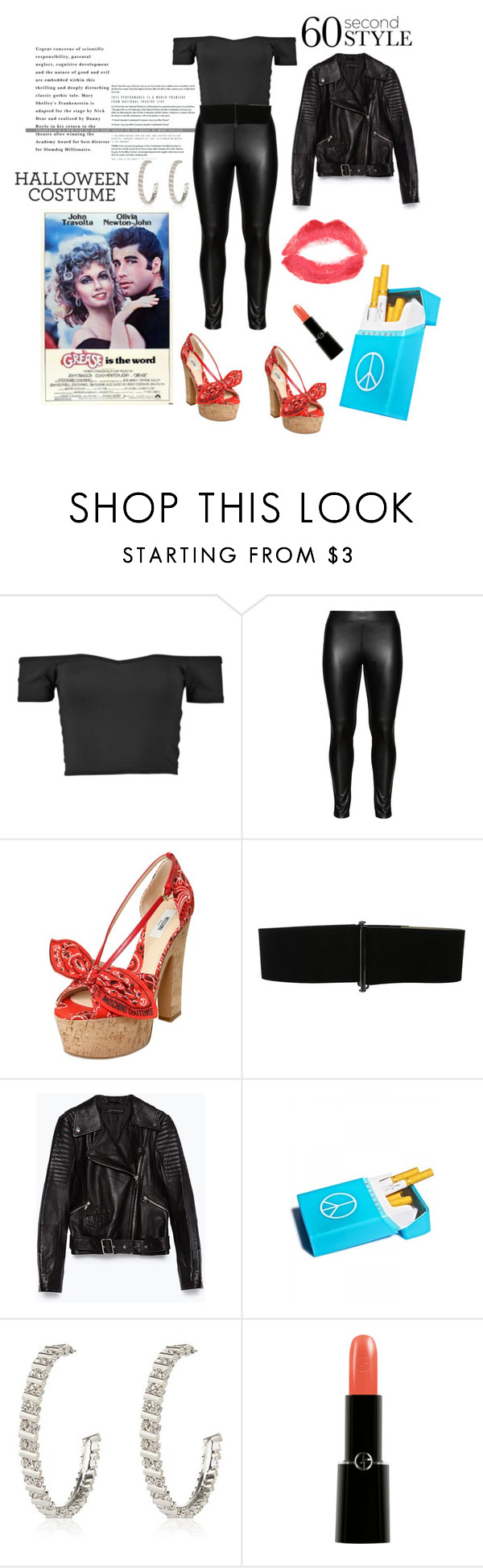 """Sandy from Grease"" by lauren-cannon ❤ liked on Polyvore featuring Studio, Moschino, Vince Camuto, Zara, River Island, Giorgio Armani, Topshop, Grease, sandy and 60secondstyle"