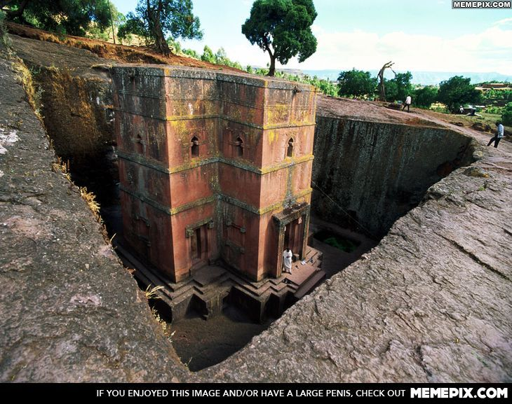 Lalibela, Ethiopia: a Christian church hewed out of solid stone eight centuries ago