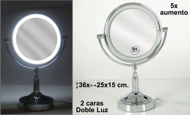 espejo cromado 5 aumentos 2 caras con luz medidas