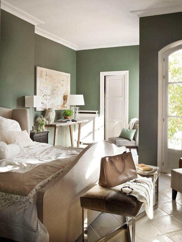 1001 Idees Comment Integrer La Peinture Vert De Gris Dans Son Interieur Home Bedroom Color Schemes Home Decor