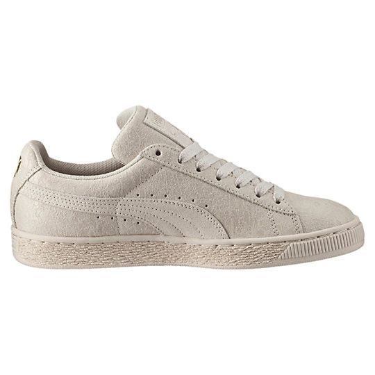 Suede upper with tonal metallic foil Lace closure for a