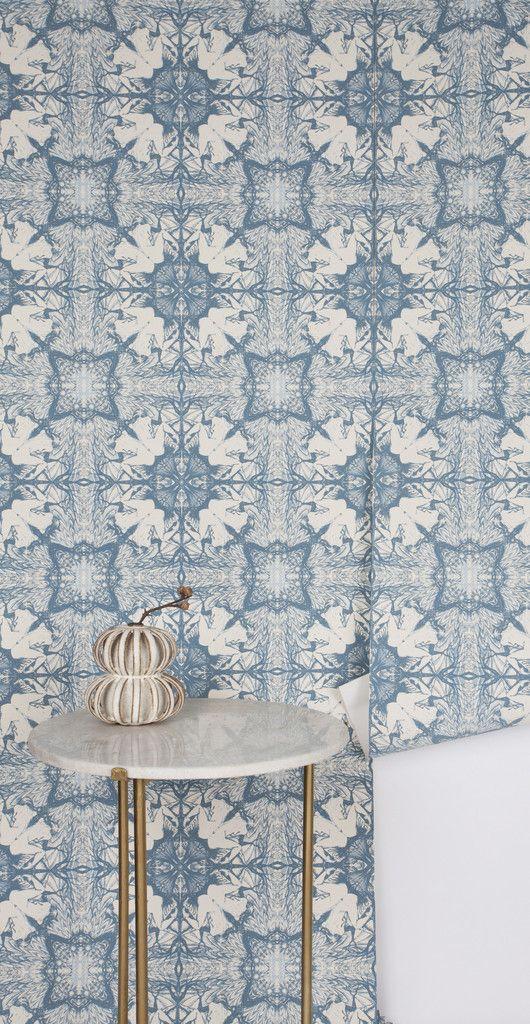 Michele Varian, Nymph Wallpaper Snow Delft Blue