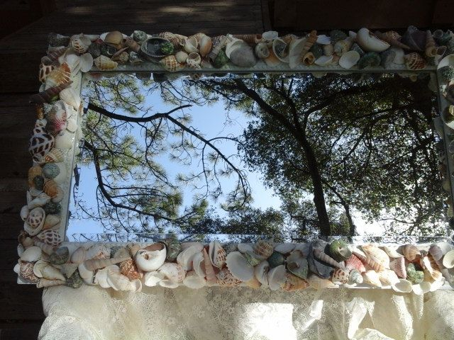 Seashell Mosaic Mirror Oblong Or Horizontal Beveled Mirror Shelled Three Dimensional by Roseantiqueboutique on Etsy    SOLD