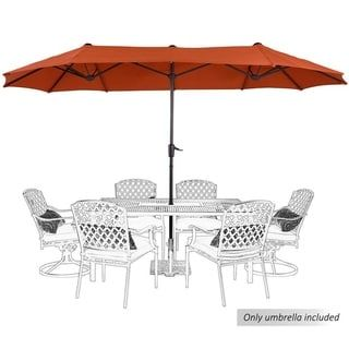 PHI VILLA 13ft Double-Sided Twin Large Patio Umbrella with Crank, Navy Blue (Red)(Polyester) #largeumbrella