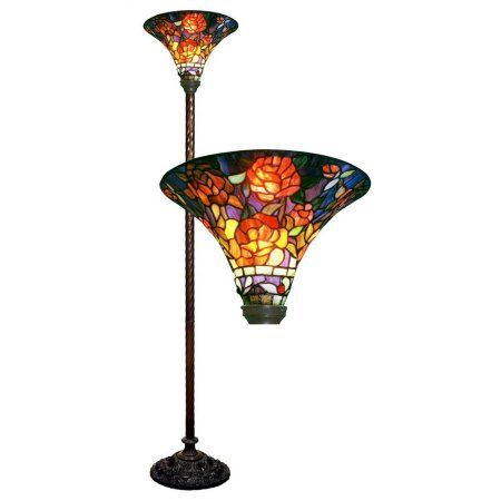 Home Stained Glass Rose Stained Glass Floor Lamp Torchiere Floor Lamp