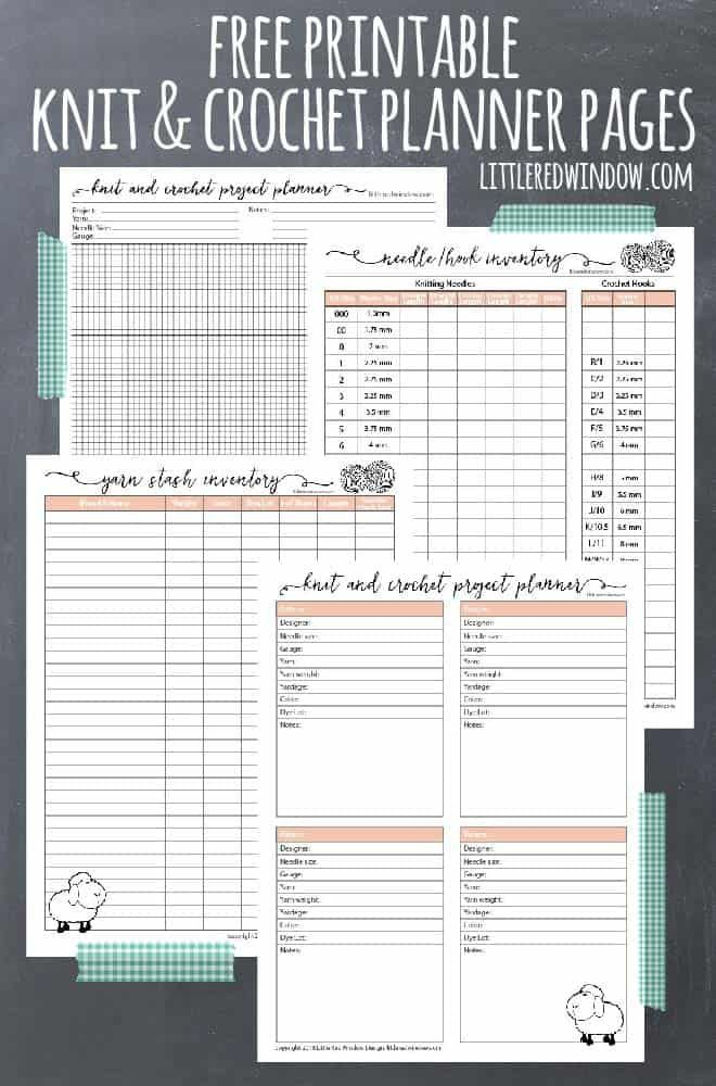 Free Printable Knitting Planner and Crochet Planner Pages -   19 knitting and crochet Projects fun ideas