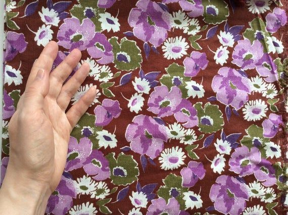 Vintage unused floral cotton fabric 2x0.7 m, Retro white pink violet flowers pattern, Dark br...