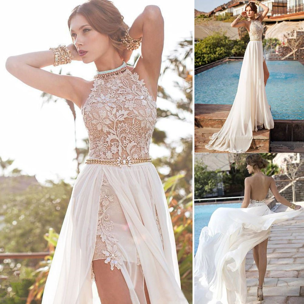 Womens Long Evening Ball Prom Gown Formal Bridesmaid Cocktail Party Lace Dress