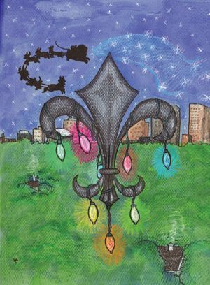 """Christmas card designed by a patient at Children's Hospital NOLA.    In Memoriam:  """"NOLA Noel Forever""""  by Heather LeMay    Heather LeMay, 21, was first treated at Children's Hospital in 1993. She lost her courageous battle with cystic fibrosis and diabetes on July 6, 2011."""