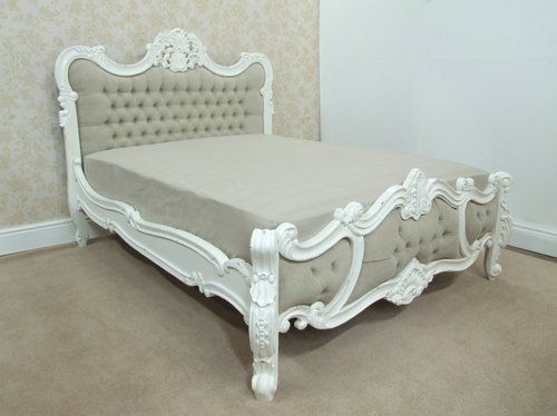 french shabby chic upholstered king size bed white distressed 5ft rh pinterest com shabby chic king size bedroom sets white shabby chic king size bed
