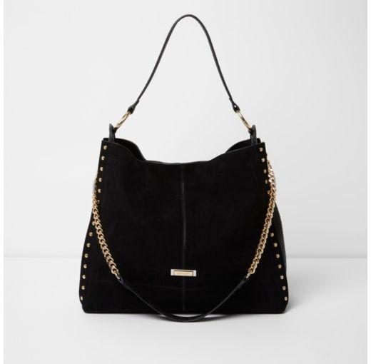 e9902dbca6 Checkout this Black studded oversized slouch chain bag from River Island