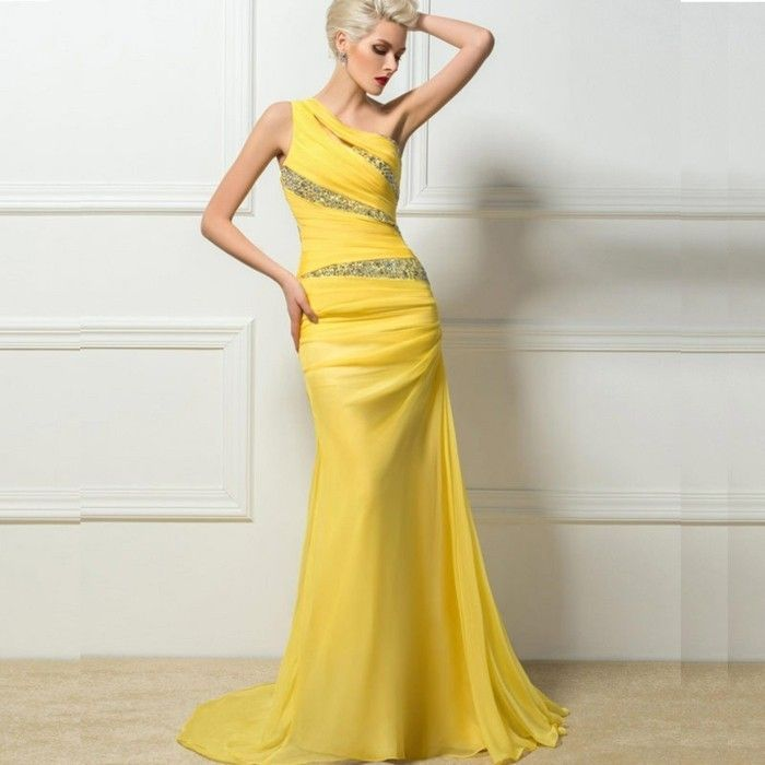 Robe de soiree jaune poussin