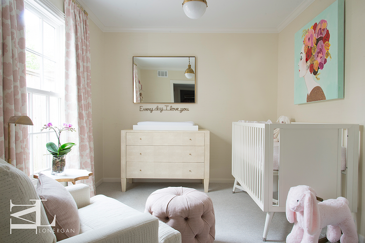 Cream And Pink Nursery Features A Turquoise Art Piece Over A Dwell Studio Mid Century French White Crib Faci How To Clean Carpet Pink Nursery Baby Girl Bedroom
