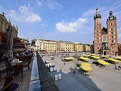 Vistas desde la terraza del Mercado de los Paños Cracovia