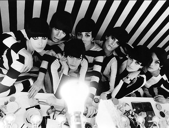 """stripes on stripes: a scene from william klein's """"who are you, polly magoo?"""" (and that's peggy moffitt on the far left). (december 2013.)"""