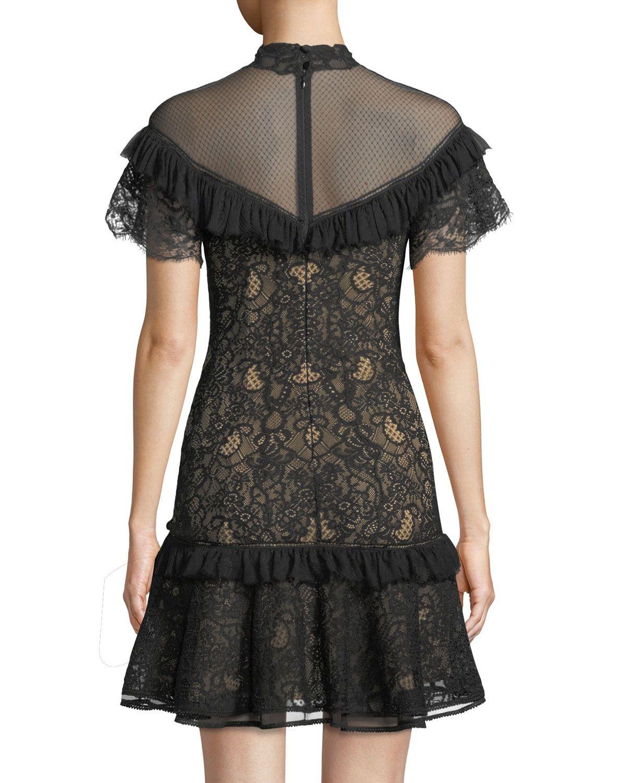2db23d8f085 Jonathan Simkhai Mock-Neck Lace Ruffle Short Dress | Products | Lace ...