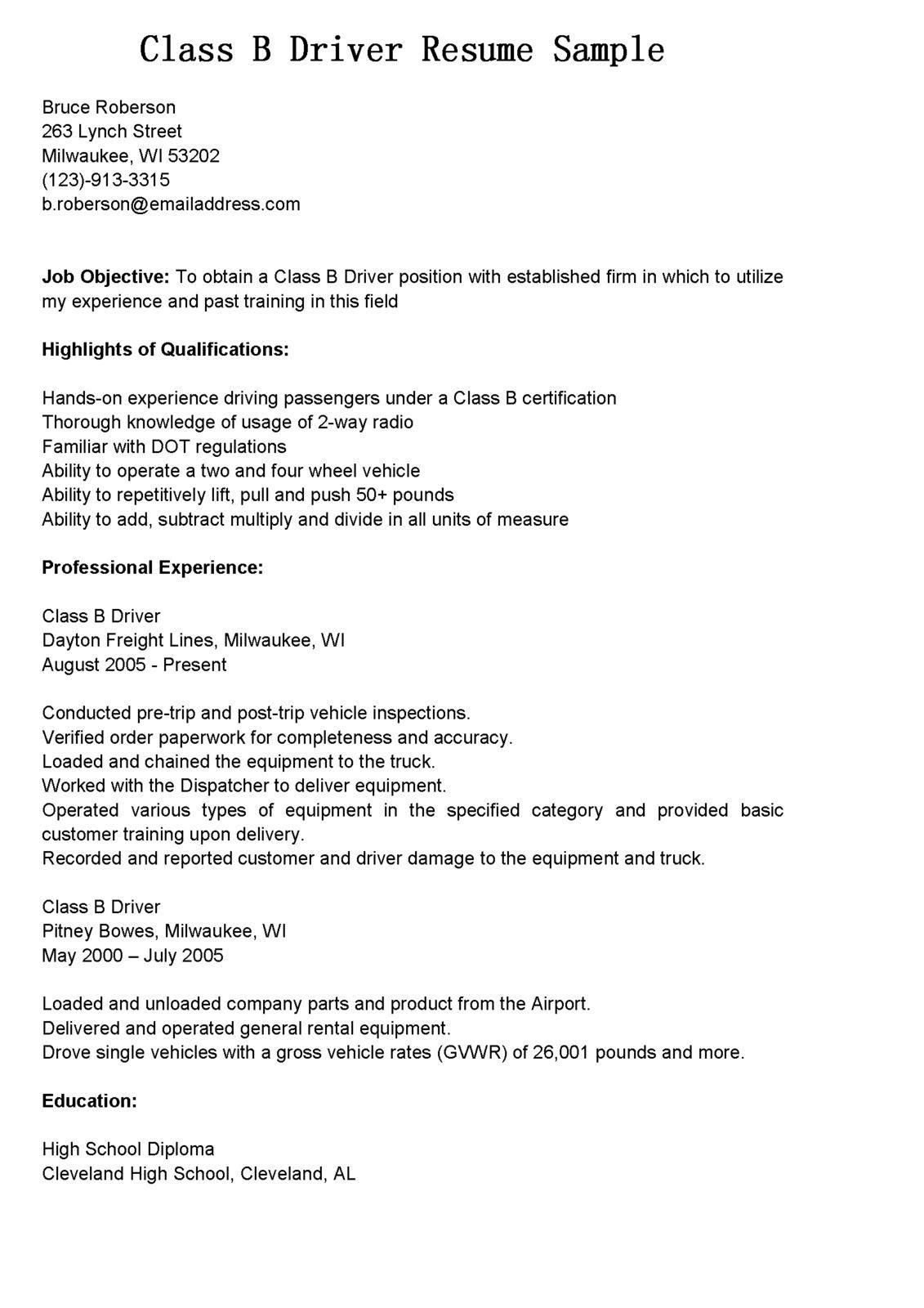 Cdl Class B Resume examples, Resume, Resume no experience