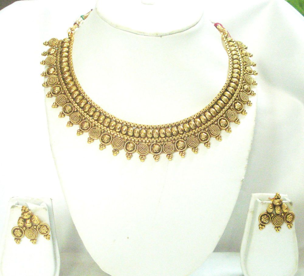Vidhi coined temple gm antique gold indian necklace set jewellery