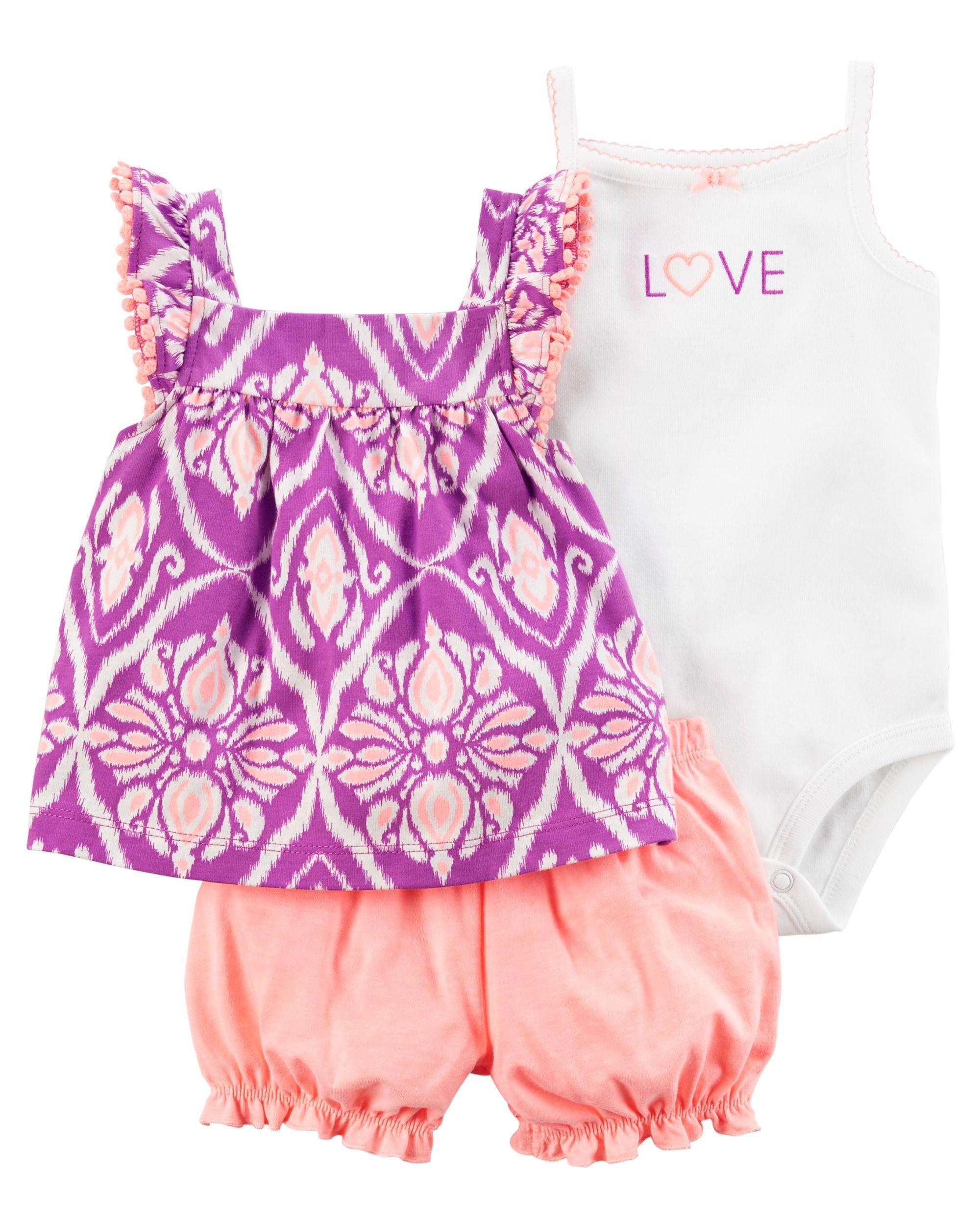 Baby Girl 3 Piece Neon Little Short Set Carters