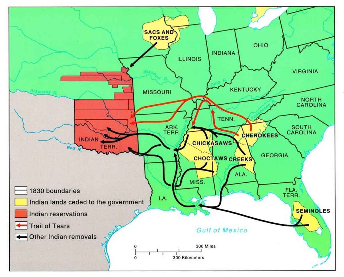 1830 Us Map.Map Of The American Indian Removal Act Of 1830 And The Subsequent