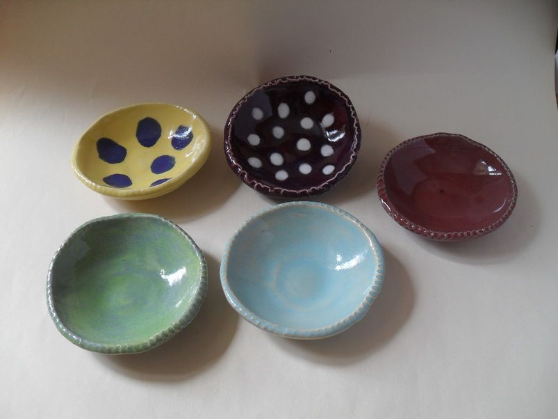 Tiny hand-built cat food bowls 3-4 inches diameter - Variety