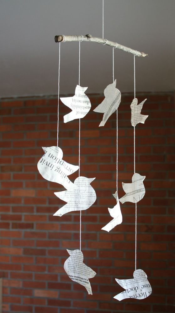 Lovely Newspaper Craft Ideas For Kids Part - 7: Bird Mobile- I Traced Out Some Birds On A Sheet Of White Cardstock..  Carnival CraftsFun For KidsCrafts For KidsNewspaper ...