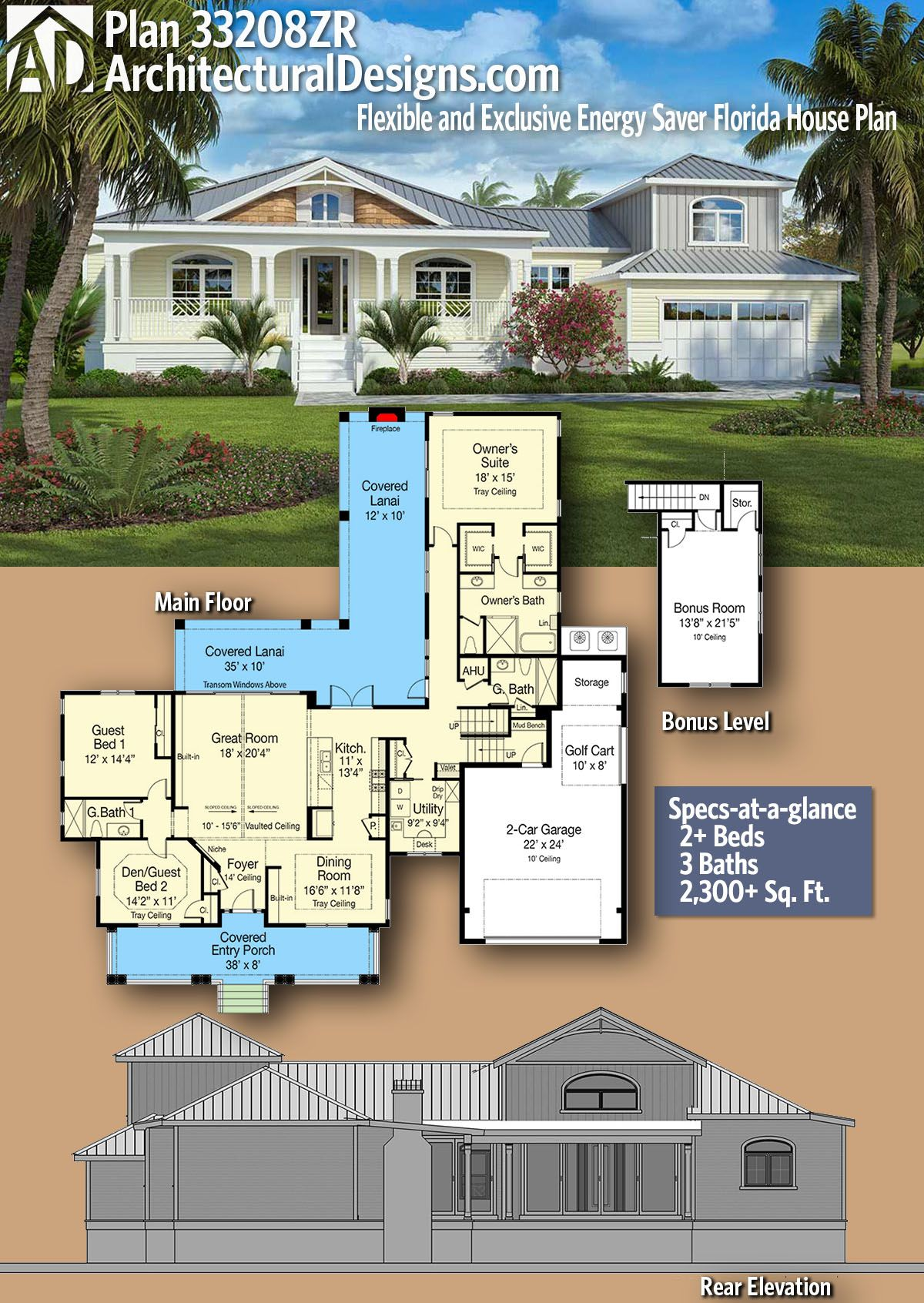 Plan 33208zr Flexible And Exclusive Energy Saver Florida House Plan Florida House Plans House Plans How To Plan